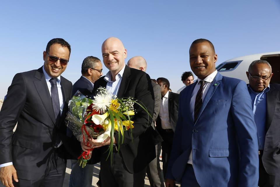 رئيس الاتحاد الدولي لكرة القدم السيد جياني إينفاتنينو بعد وصوله لنواكشوط